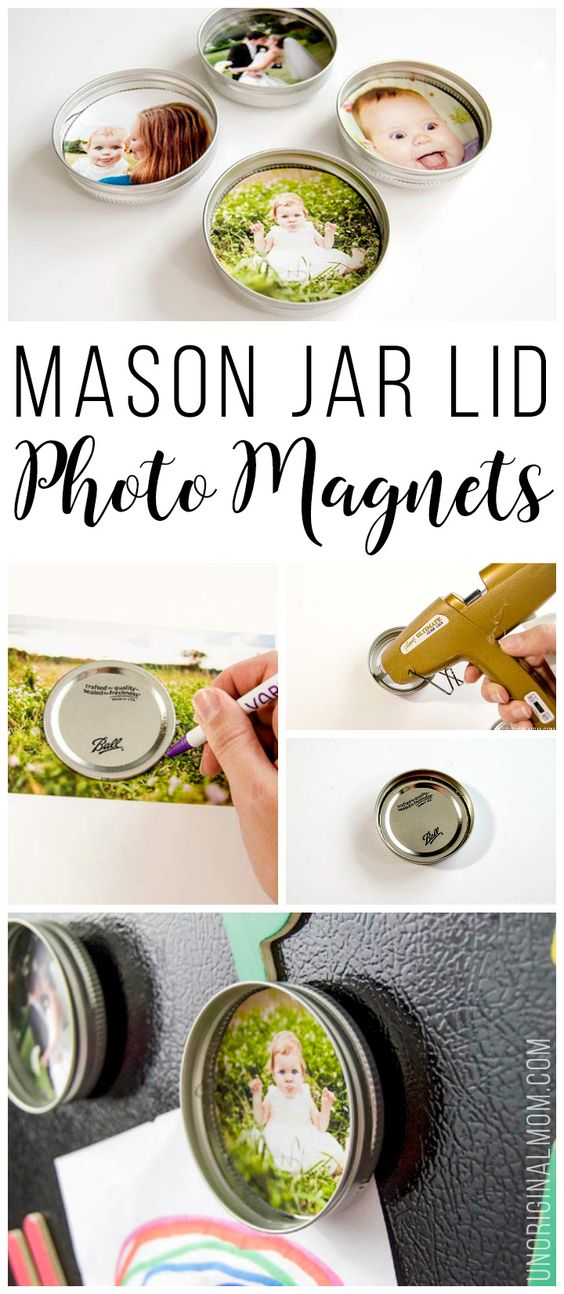 Upcycled Mason Jar Lid Magnets.