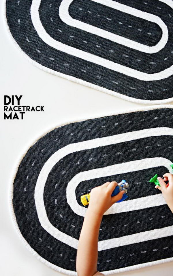 DIY Racetrack Mat For Kids.