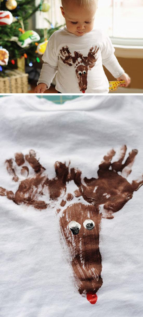 Handprint Reindeer T Shirt.