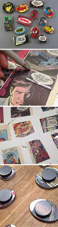 Superhero Comic Book Magnets.