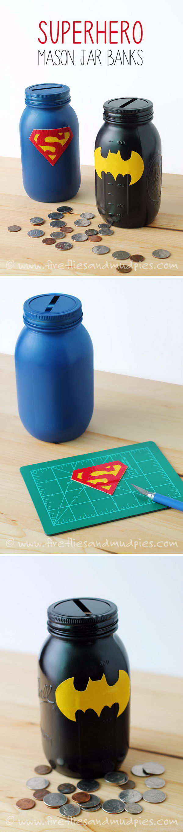Mason Jar Superhero Banks.