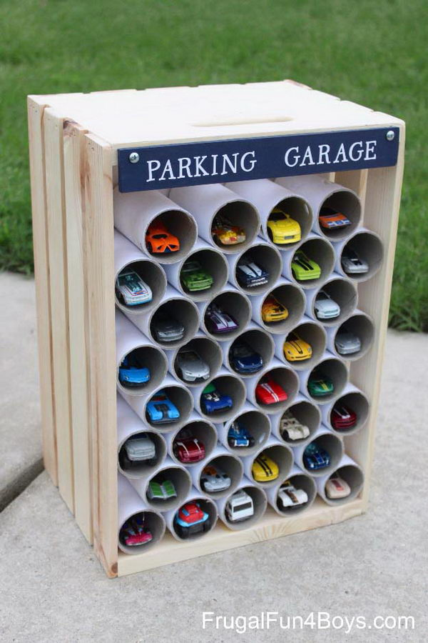 DIY Wooden Crate Storage And Display For Toy Cars.