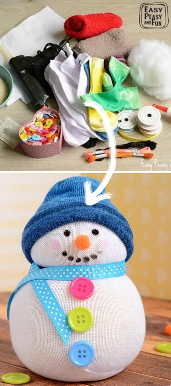 No Sew Sock Snowman Craft.