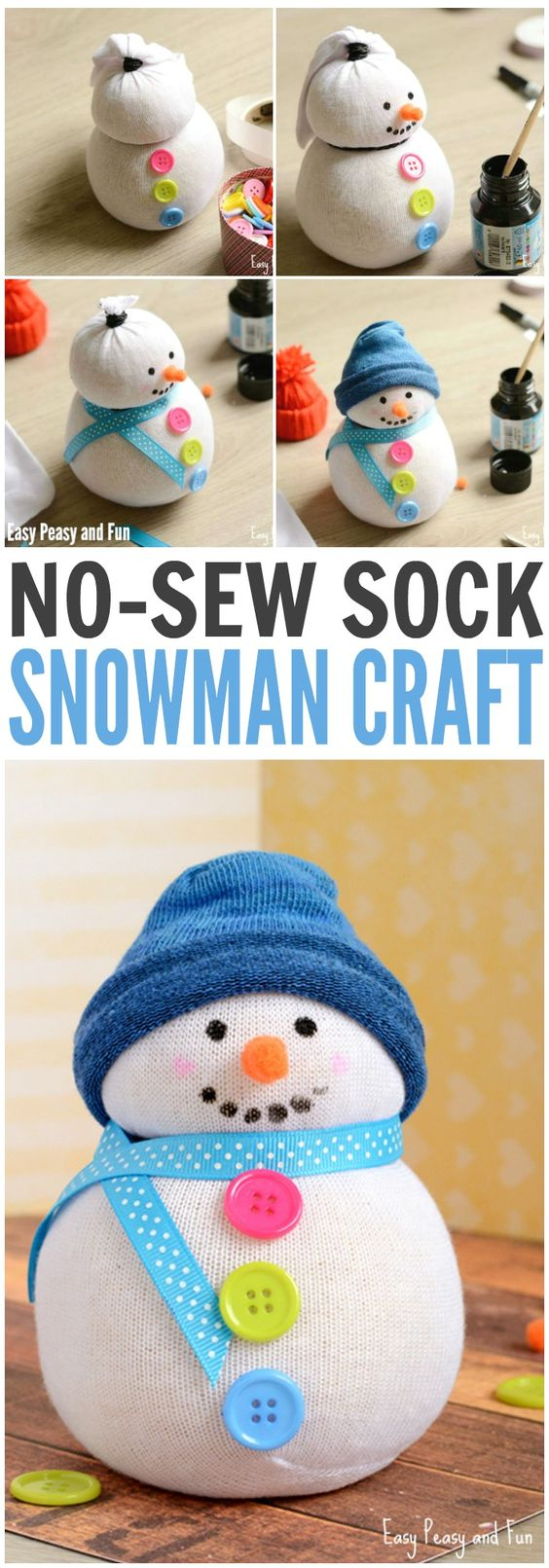 No-Sew Sock Snowman Craft.