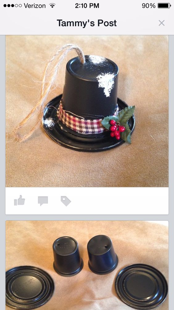 K-Cup Snowman Hat Ornaments.