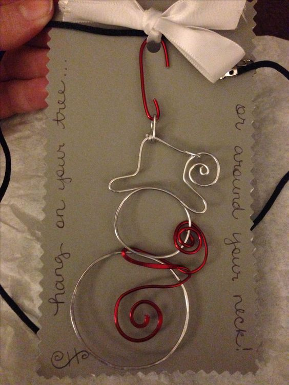 Easy Wire Snowman Which Can Be Hung as Tree Ornament or Necklace Pendant.