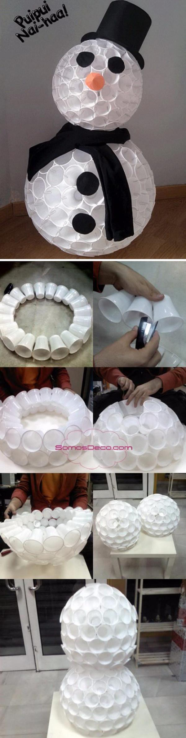 Plastic Cup Snowman.