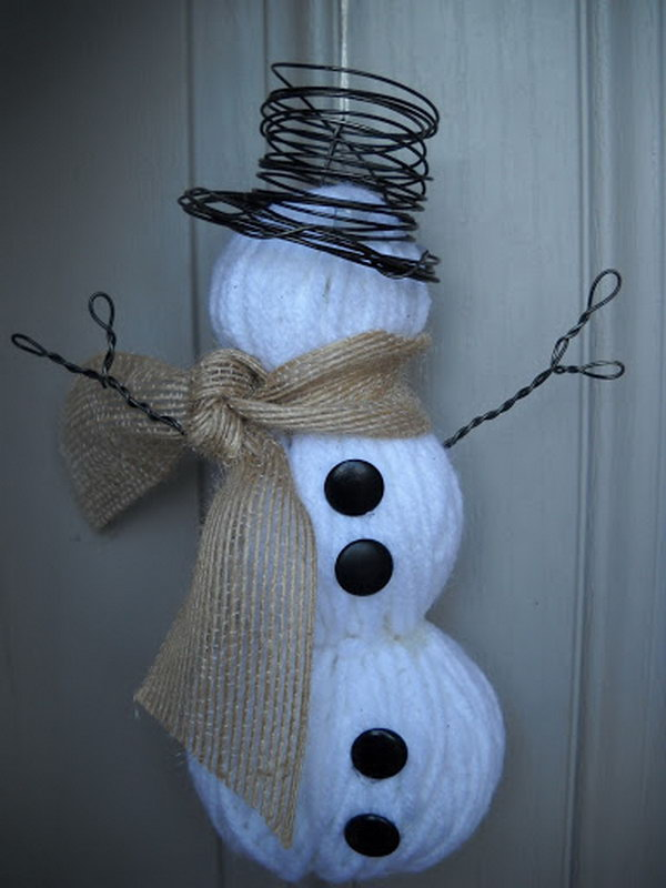 Snowman Craft Made out of Yarn Wrapped Foam Balls.