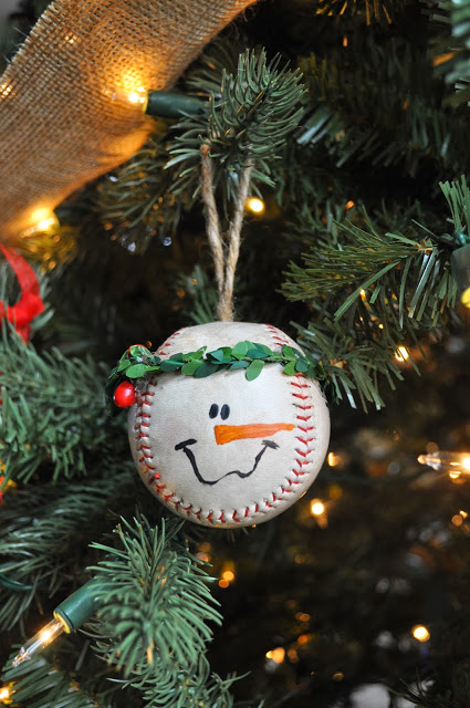 Baseball Snowman Ornament.