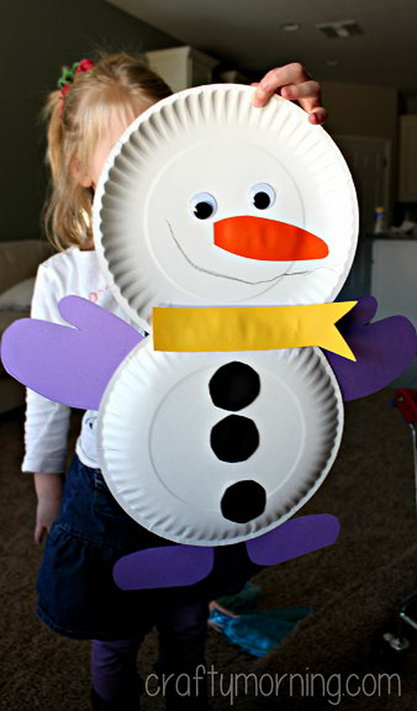cute paper plate snowman craft.