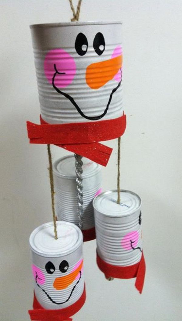 Snowman Windchime Made out of Recycled Tin Cans.
