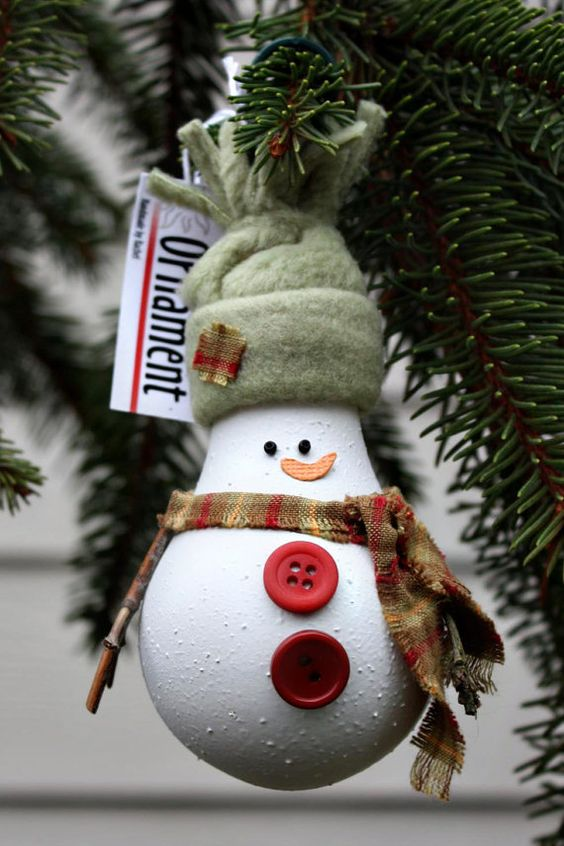Recycled Lightbulb Snowman.