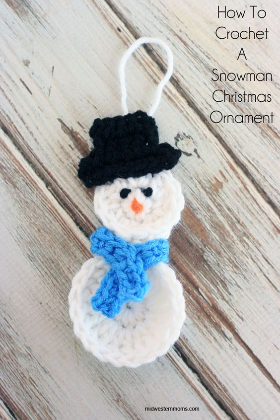 Crochet Snowman Christmas Ornament.