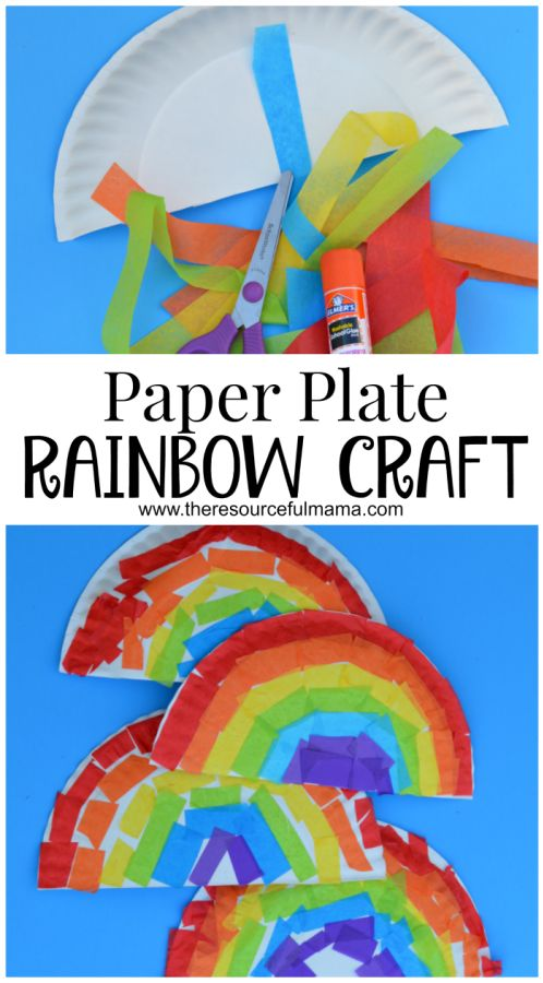 Colorful Paper Plate Rainbow Craft.