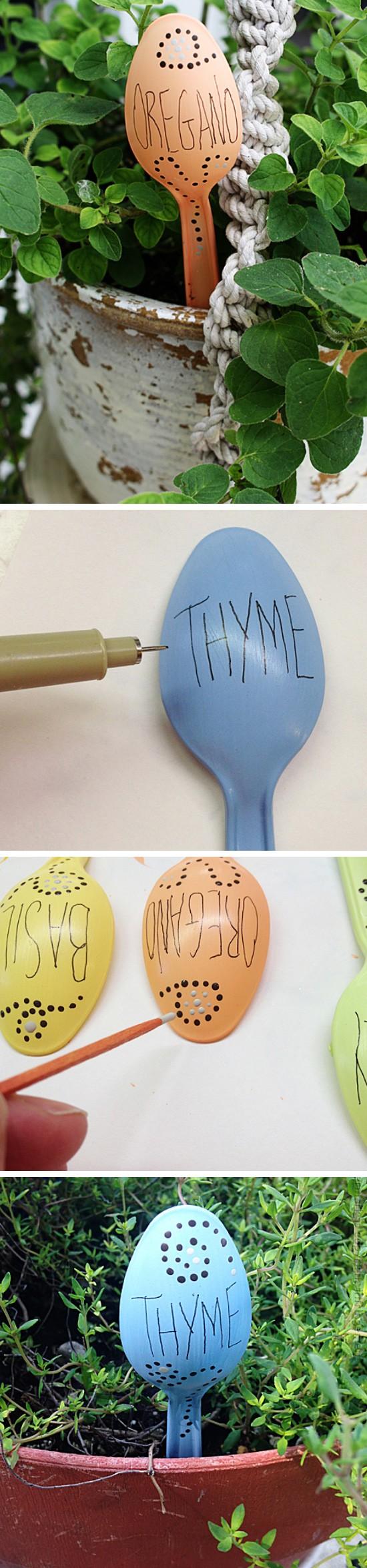 Plastic Spoon Garden Markers.