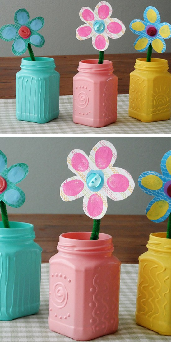 Recycled Spring Jars with Texture.