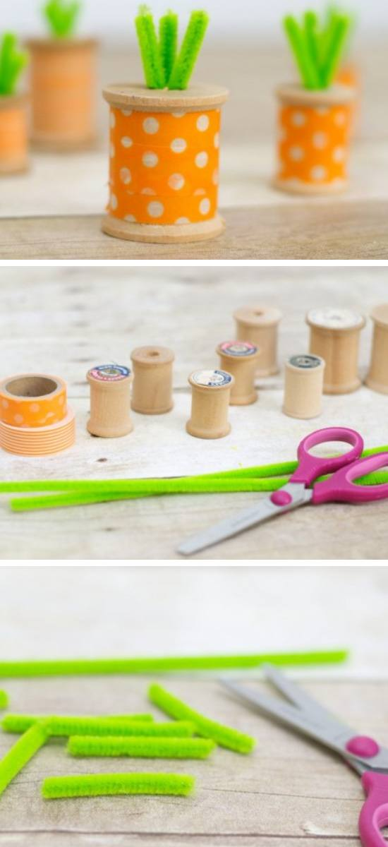 DIY Washi Tape Thread Spool Carrots.