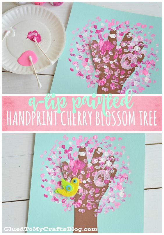 Q Tip Painted Handprint Cherry Blossom Tree.