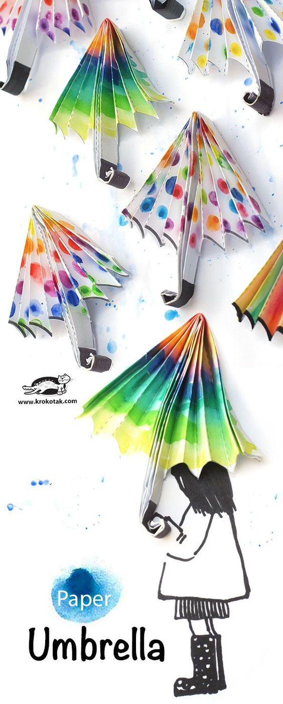 DIY Paper Umbrellas for Rainy day in Spring.