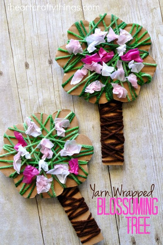 Yarn Wrapped Blossoming Spring Tree Craft.