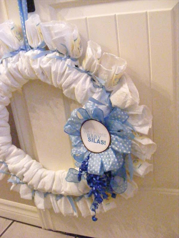 Baby Shower Diaper Wreath.