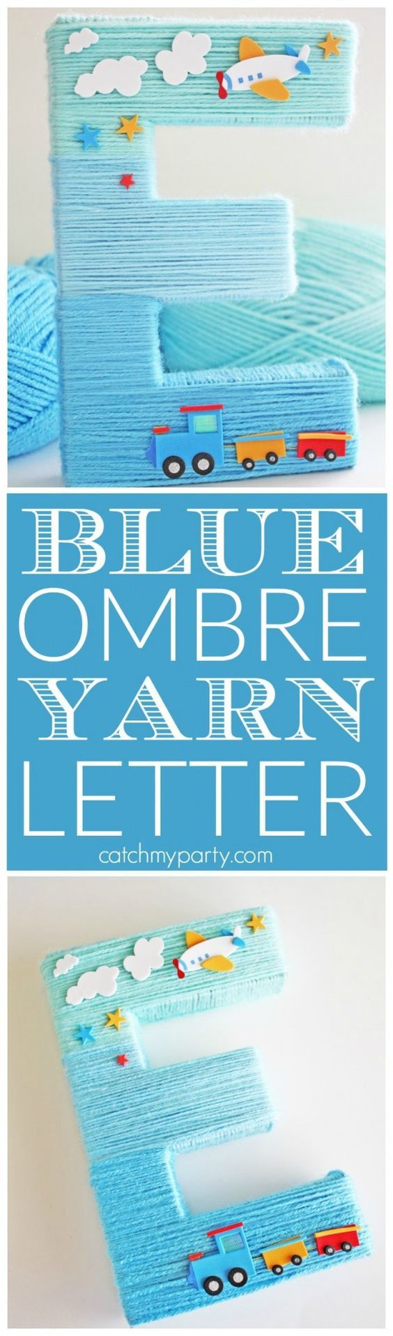 Blue Yarn Wrapped Ombre Monogram Letter.