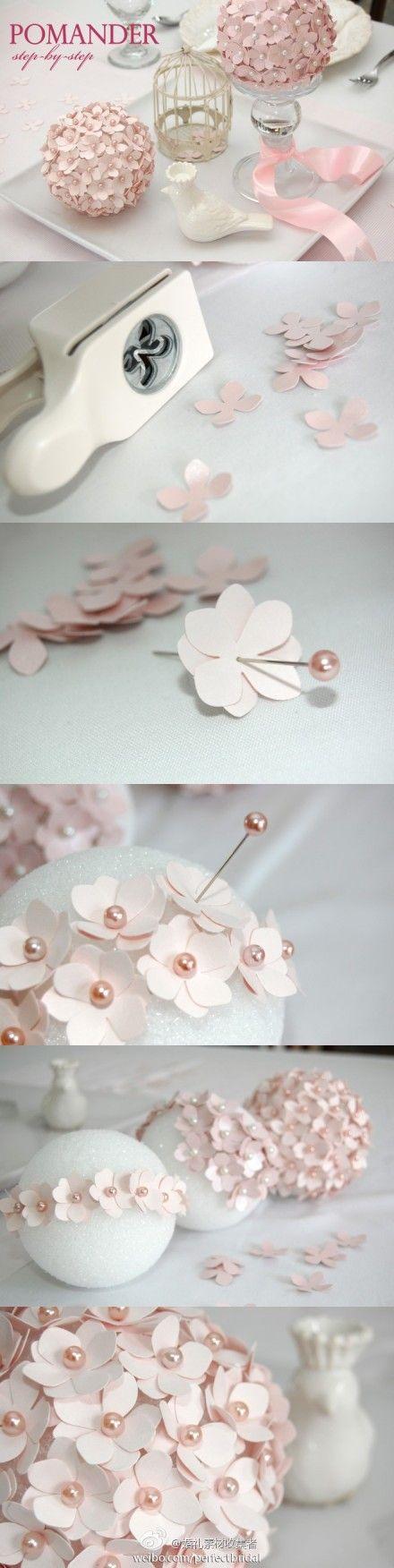 DIY Paper Flower Pomanders.