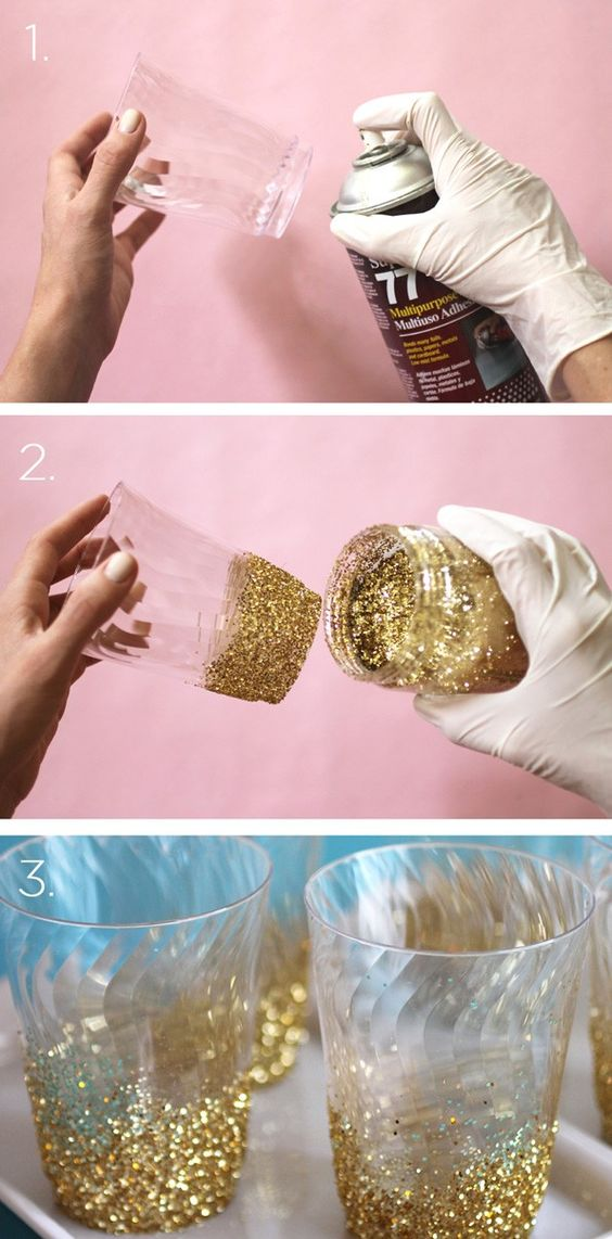 DIY Glitter Glasses.