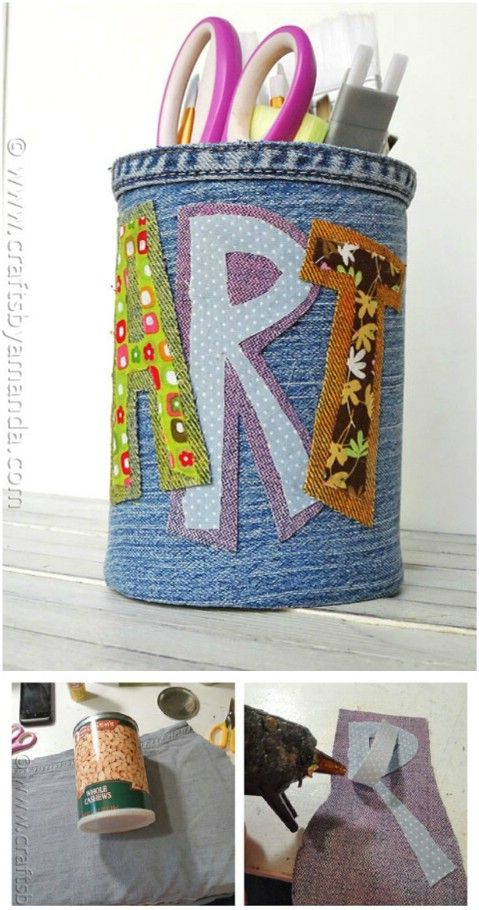 Denim Covered Pencil Can.