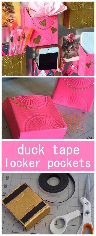 DIY Duck Tape Locker Pockets.