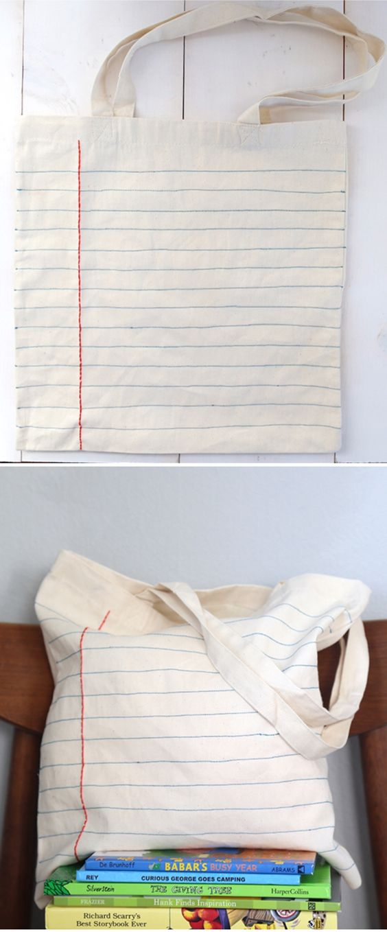 DIY Notebook Sewn Canvas Tote Bag.