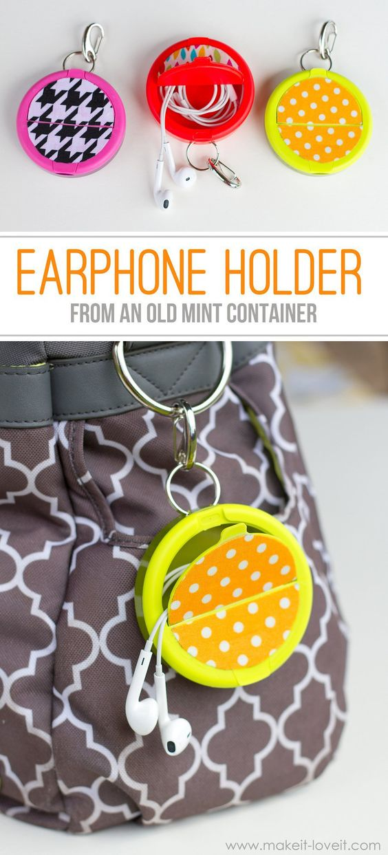 DIY Earphone Holder Made From A Mint Container.
