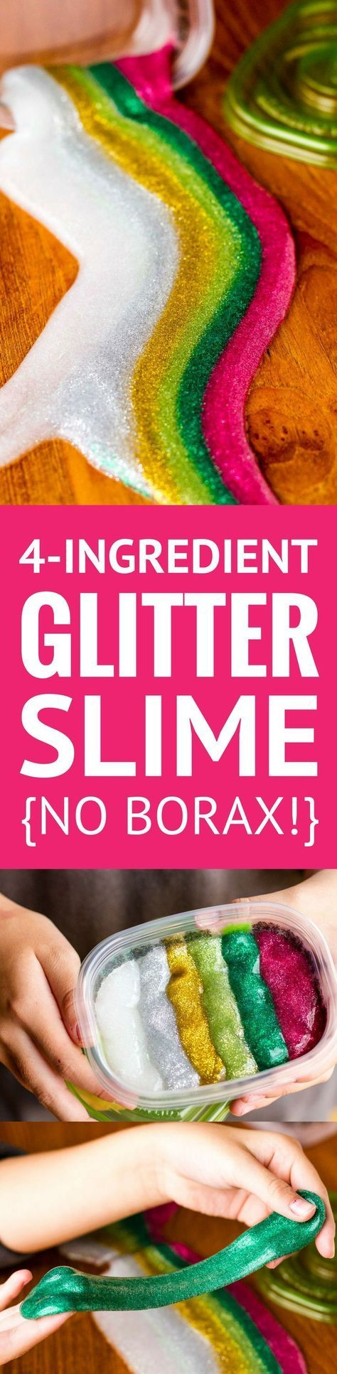 4-Ingredient Glitter Slime Recipe.
