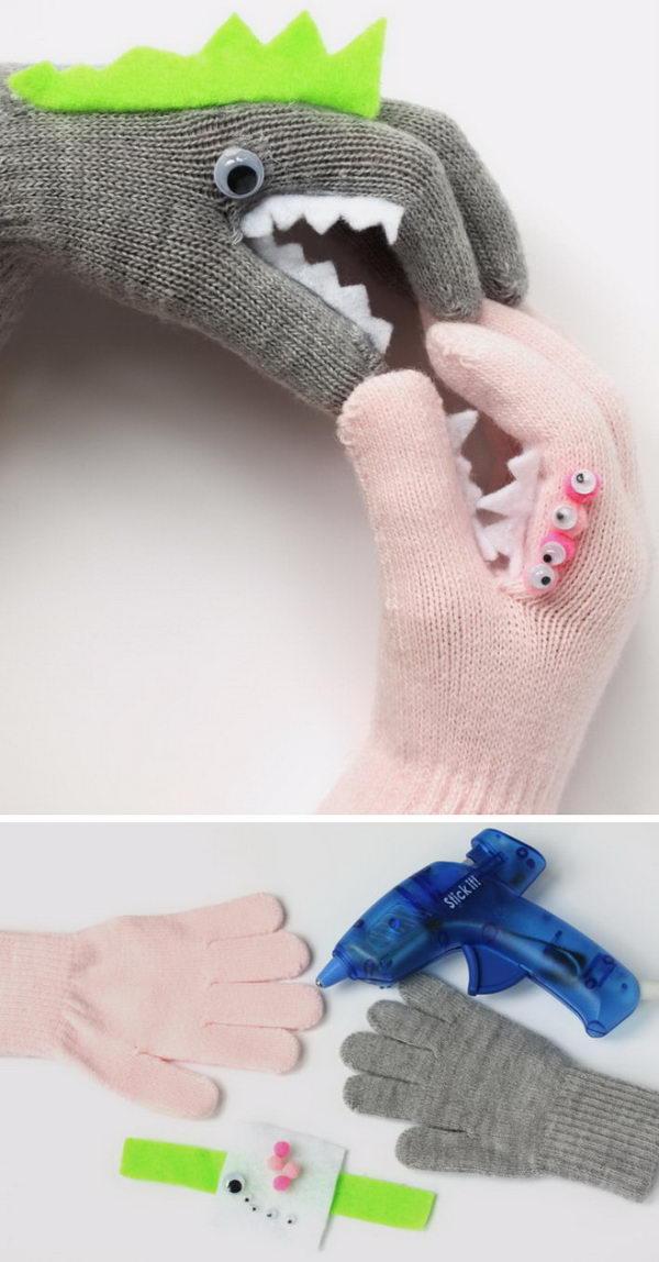 DIY Monster Puppet Gloves.