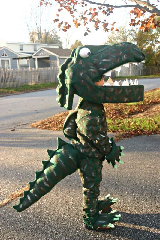 Homemade Dinosaur Halloween Costume.