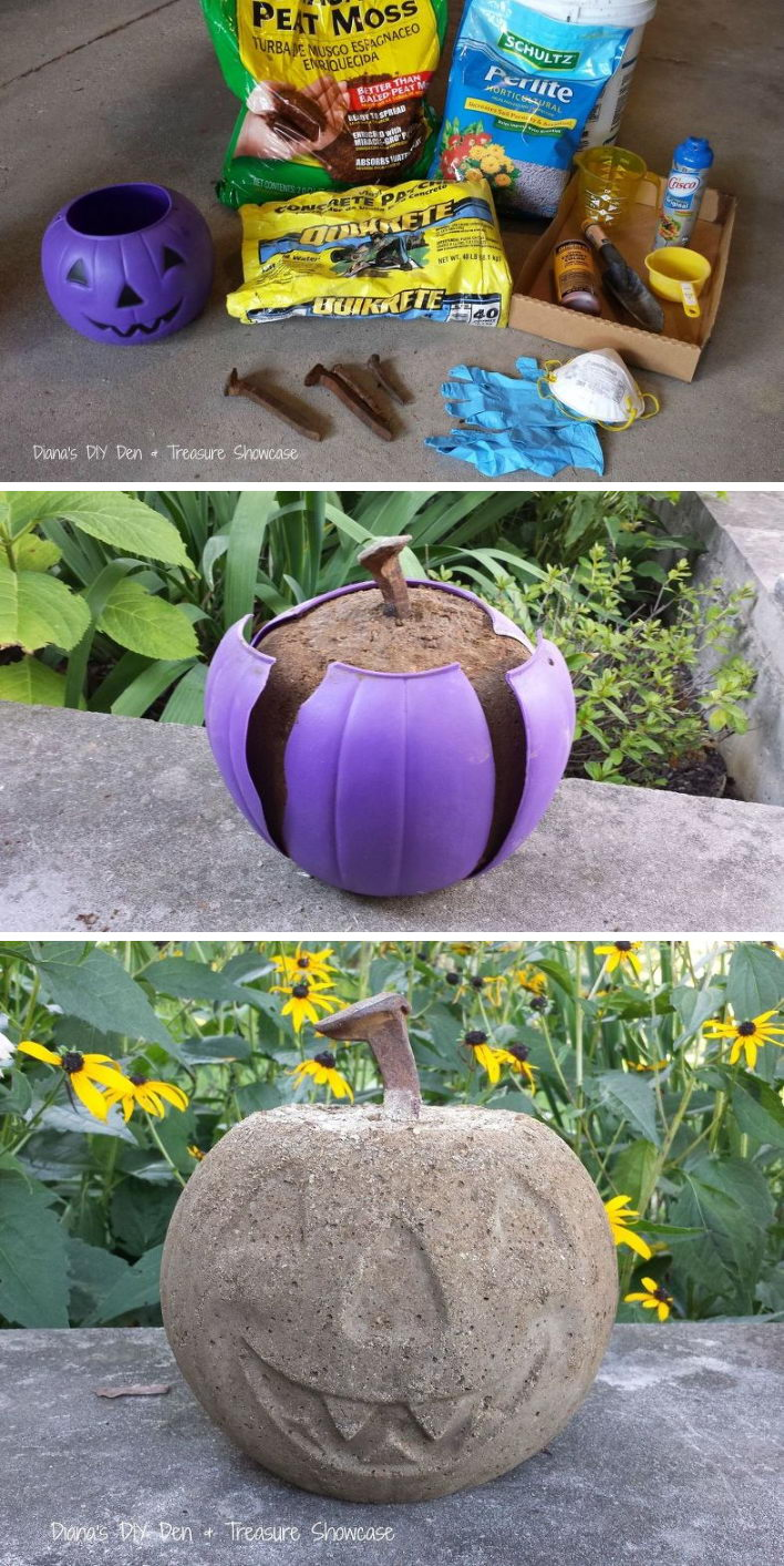 Use A Dollar Store Plastic Pumpkin As A Mold For A Concrete Halloween Ornament.