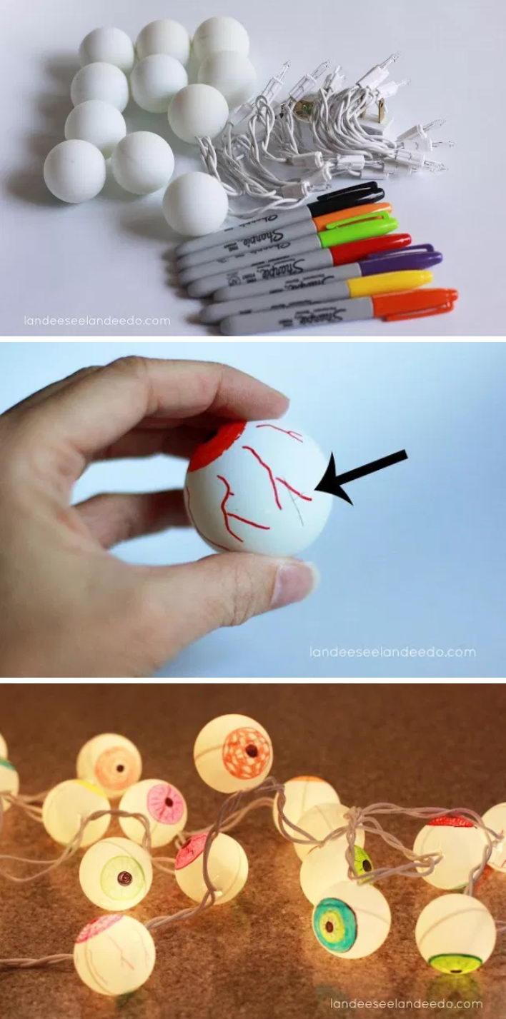 DIY Eyeball Lights for Halloween Using Ping Pong Balls.