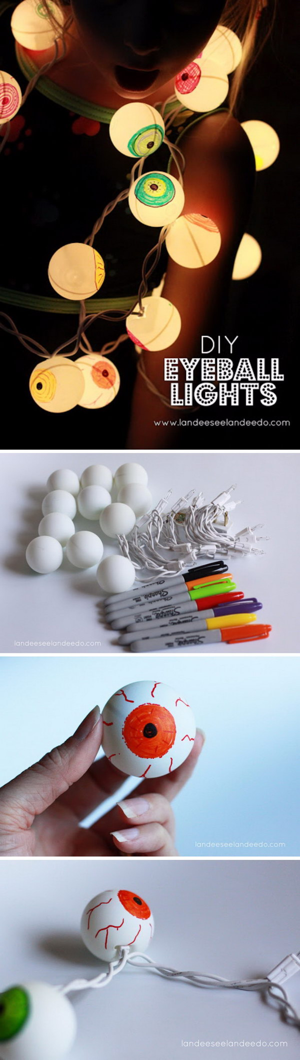 DIY Eyeball Lights for Halloween Using Ping Pong Balls.